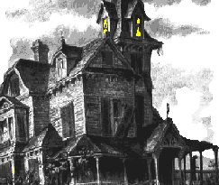 Haunted House black-and-white with yellow windows