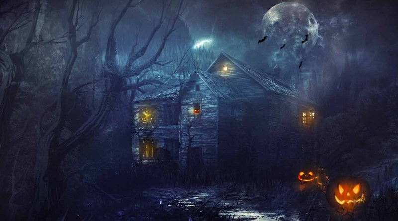 Halloween Cabin with moon and bats resize