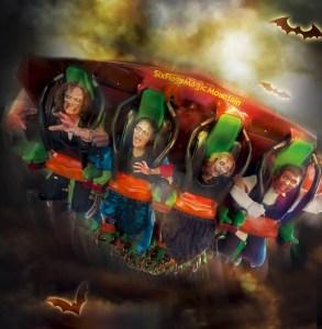 Six Flags drop of doom with bats