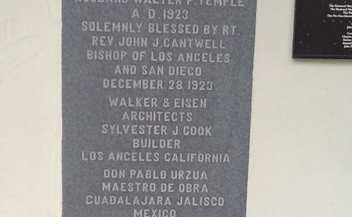 Commemorative plague on the Walter P. Temple Mausoleum