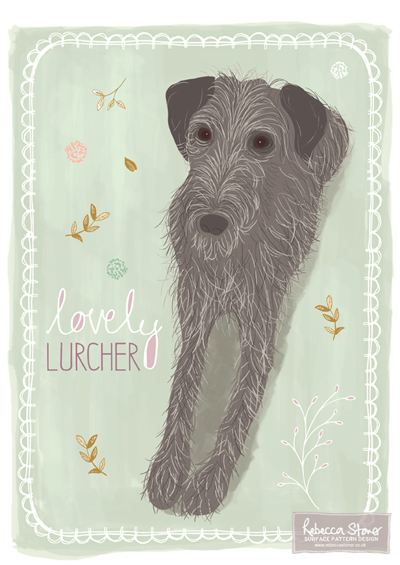 Lovely Lurcher by Rebecca Stoner www.rebeccastoner.co.uk