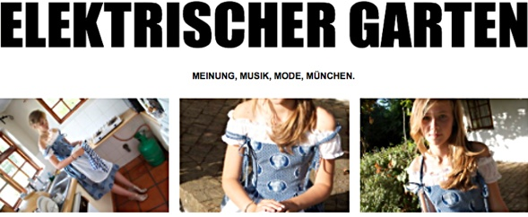 Now defunct Munich blog, electric garden with a pointer to Mandela Dirndl dress