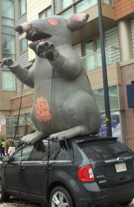 Rat balloon-insulators, tin knockers, pipefitters union protest