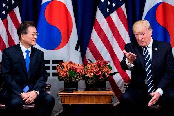 川普拜會文在寅討論北韓問題。 圖片來源:大紀元