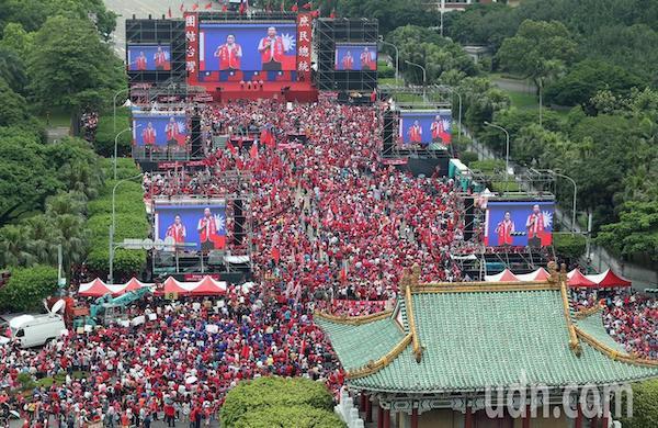 韓國瑜凱道造勢自稱四十萬人。 圖片來源:聯合新聞網
