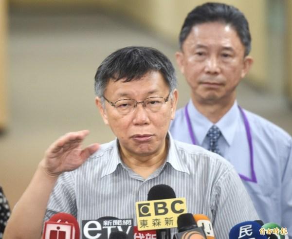 柯文哲說香港少年遭港警開槍是擦槍走火。 圖片來源:自由時報