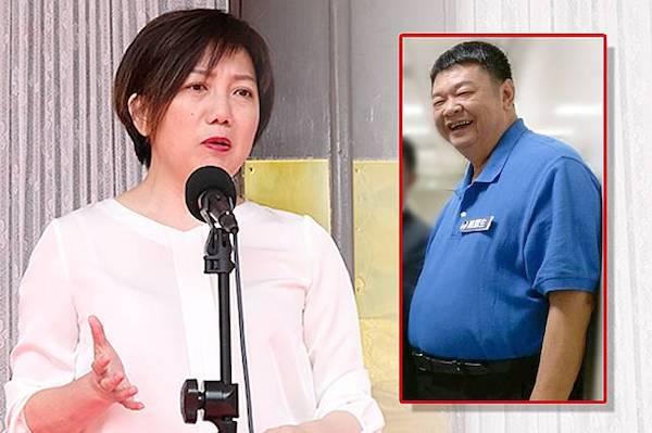 國民黨立委陳雪生用肚子頂范云,性騷擾不認錯。 圖片來源:放言