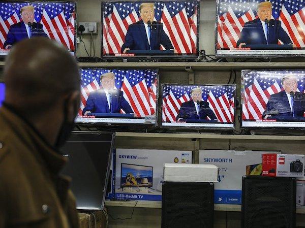 美國主流媒體切斷川普直播。 圖片來源:聯合報