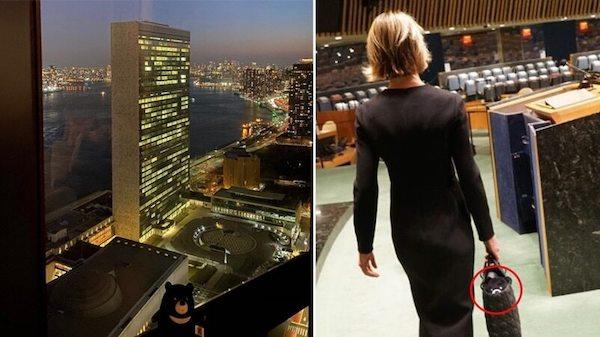 美駐聯合國大使帶台灣黑熊到聯合國挺台灣。 圖片來源:蘋果日報