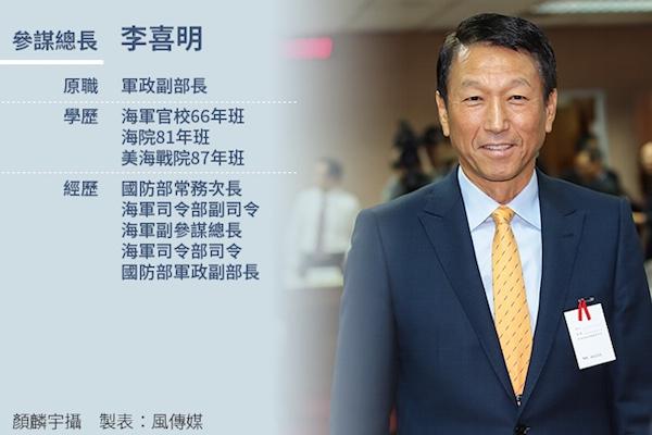 參謀總長李喜明將不參加美台國防會議。 圖片來源:風傳媒