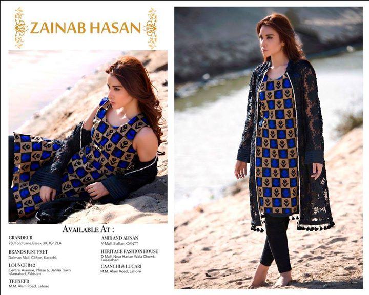 Zainab Hassan Stylish Vintage Dresses 2016 for casual wear