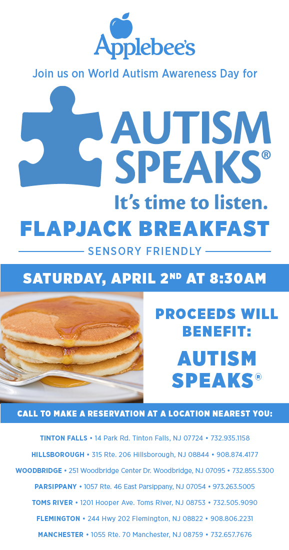Applebee 39 s locations in nj to raise money for autism in april new jersey isn 39 t boring for Olive garden union nj