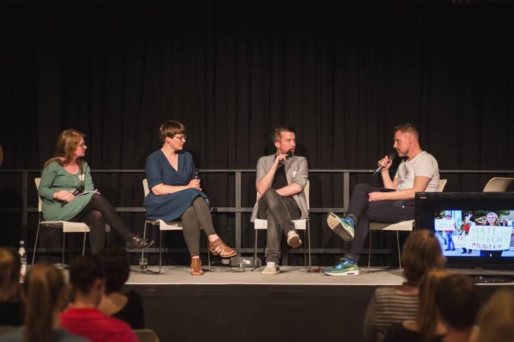 Nicole von Horst, Mareice Kaiser, ich und Thomas Guntermann auf der Blogfamilia 2016