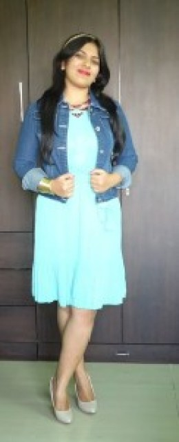 outfit Mint Pleated Dress, Denim Jacket, indian fashion blogger