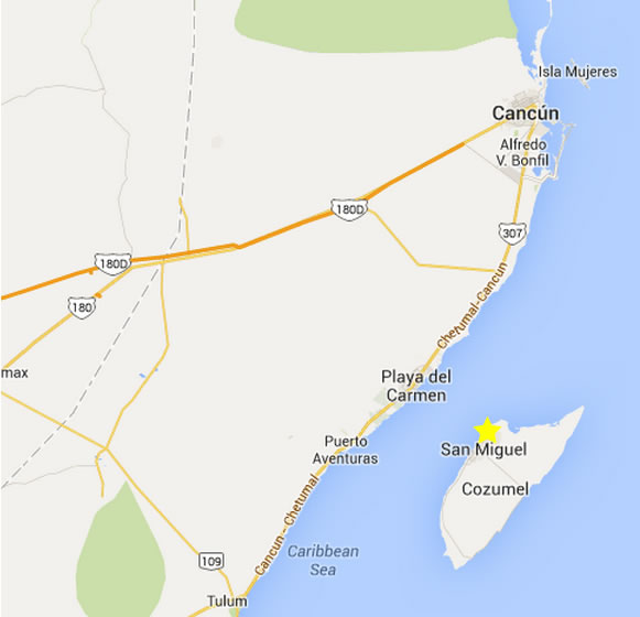 map to cozumel