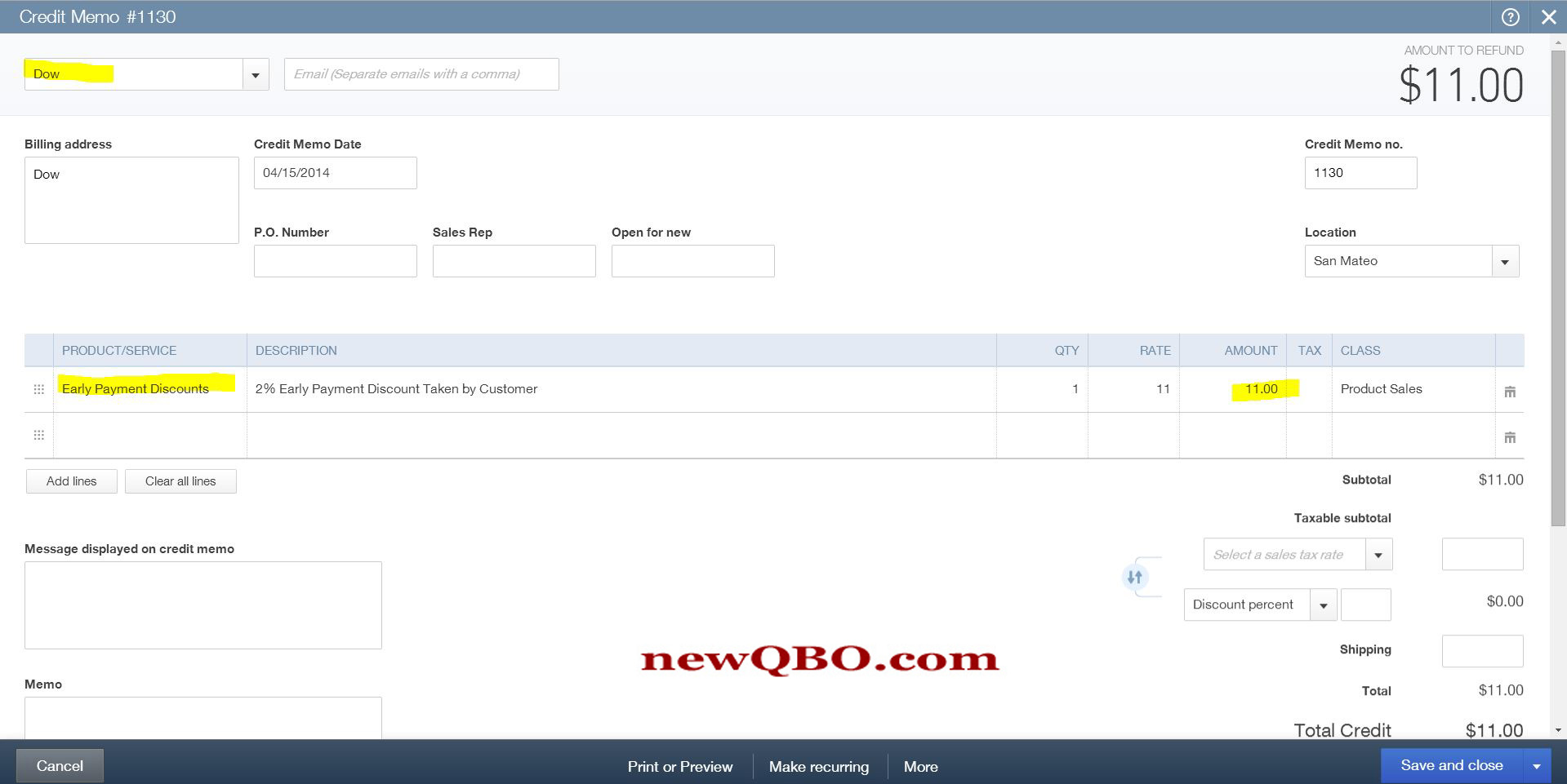 qbo how to change gl on invoice