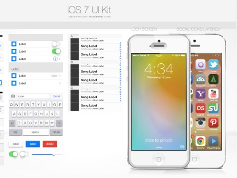 Download iOS7 UI Kit PSD on Behance