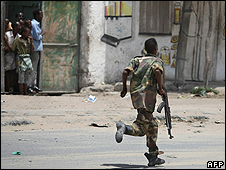 Government soldier in Mogadishu - file pic