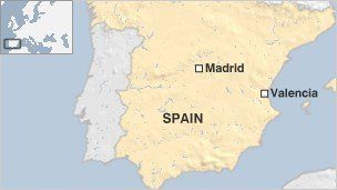 Map of Spain showing Madrid and Valencia
