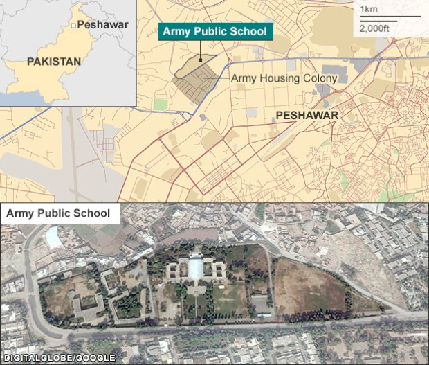 BBC map, showing the army school in Peshawar