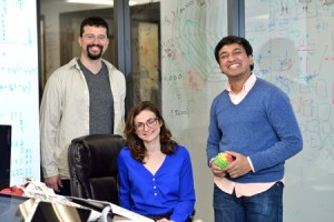 From left, Erez Lieberman Aiden, Harvard graduate student Miriam Huntley and Suhas Rao of Baylor College of Medicine's Center for Genome Architecture. Credit: A. Sanchez/Baylor College of Medicine