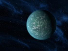 "Artist's impression of Kepler-22b, a large ""Super-Earth"" within its star's habitable zone. Image credit: wikipedia"