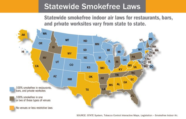 Map of the United states with those states who support smoke free laws colored either blue, brown or yellow depending on how comprehensive their laws are. Infographic credit: CDC, USA