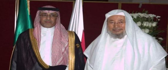 القرضاوي مع السفير السعودي في قطر