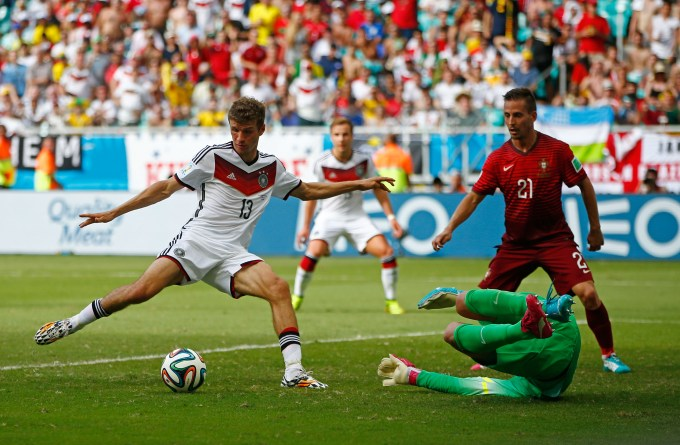 Above: Hot tip? Germany's Thomas Muller is fancied by many on the Icons team to win the Golden Boot.
