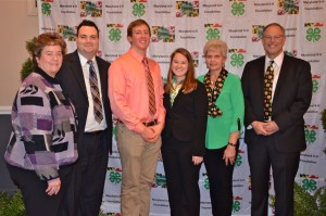 Pictured (from left): Board member Jo Ann Cashman, Executive Secretary Logan Yearsley, 4-H members Ian Doody and Gabrielle Cory, Board member Linda Brown and College of Agriculture Dean Craig Beyrouty