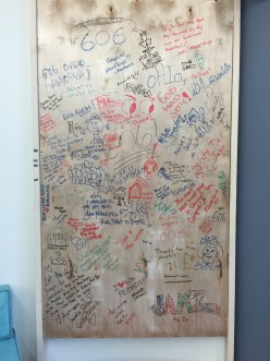 606 Records has a wall that visitors can sign, leaving their mark. (Ariana LaBarrie/Medill)