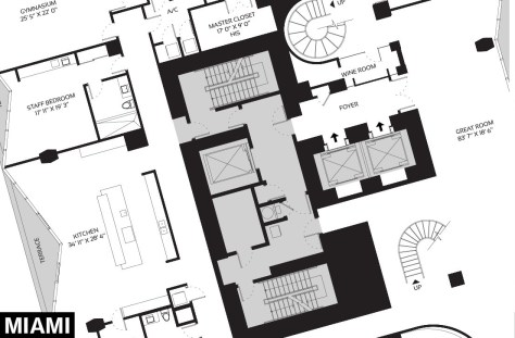 One Thousand Museum's Penthouse in Miami - Floor Plan