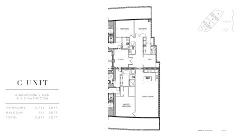 Residences of Armani Casa: Floor Plan C (Floor 28)