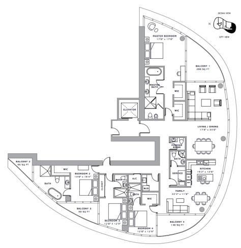 Ritz-Carlton Residences Sunny Isles, FL - Floor Plan E