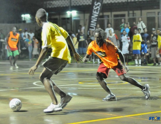 Action from a recent small goals football competition in Micoud.