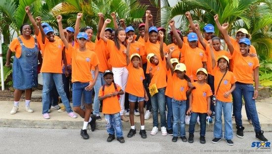 The 8th Gros-Islet Brownie and Guide Company from St Lucia. At far right (end of first row) is Girl Guide, Leesa-Marie Nicholas and standing behind her is Lead Guide, Bernella Charlemagne.