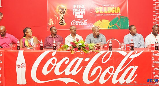 The head table at Wednesday's launch for the FIFA World Cup Trophy Tour at Coco Palm.