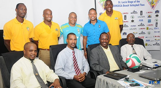 Members of the St Lucia Volleyball Association and sponsors at Thursday's launch of the Ninth Stage of the NORCECA    Beach Volleyball Tour.