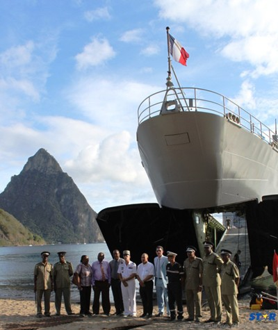 The Dumont d'Urville is on its second visit to Saint Lucia, having previously carried out training operations in 2011 at the Soufrière Bay