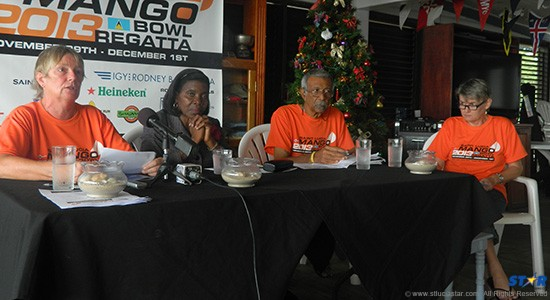 L-R Anne Purvis, Hon Emma Hippolyte and  Maurice Moffat.