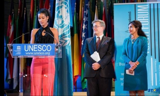 Laurah addressing Closing Ceremony of 8th UNESCO Youth Forum-Photo credit UNESCO/Cyril Bailleux. Photo Credit Emmanuel Ollivier.