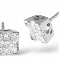 Illusion Earrings 0.50CT Diamond 9K White Gold   Item H3121