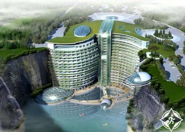 بالصور..افتتاح أول فندق في العالم داخل حفرة عميقة في شنغهاي نهاية 2017