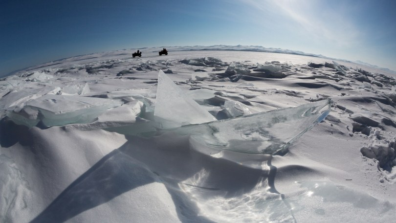 ATV drive on Lake Baikal, Winter Day