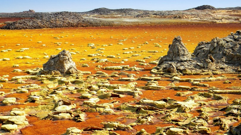 Ethiopia, Danakil depression, Dallol volcanic lake, 116m below sea level