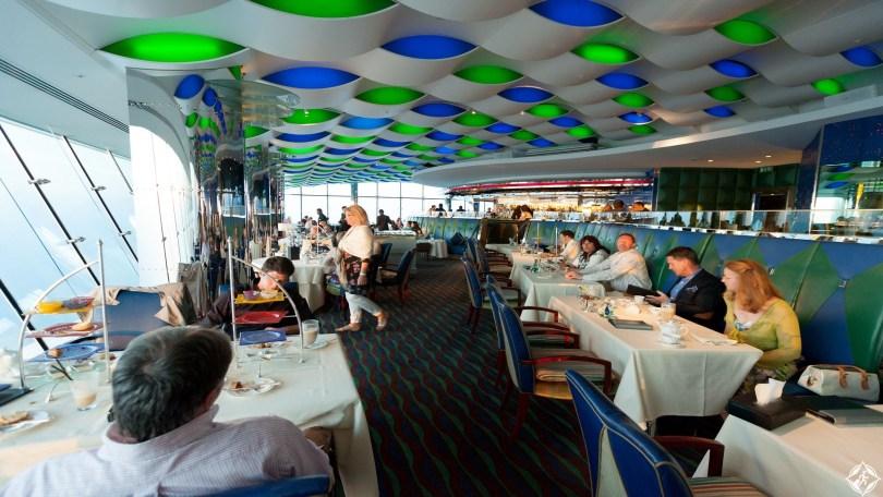 People eating and drinking afternoon tea, The Skyview Bar, the interior, Burj al Arab Hotel, Dubai, UAE, United Arab Emirates