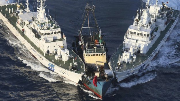 Japanese Coast Guard interdict a fishing vessel near the Senkaku Islands