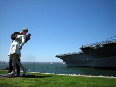 Unconditional Surrender, a series of 25 foot tall statues by J. Seward Johnson, has been on display in Sarasota, FL, San Diego, CA and Hamilton, NJ. The version in Sarasota was damaged when struck by a car.