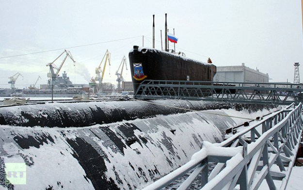 Yury Dolgoruky nuclear-powered submarine a during the ceremony in the Sevmash shipyards, Severodvinsk, Jan. 10. RIA Novosti Photo