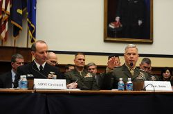 Commandant of the Marine Corps Gen. James F. Amos speaks along side Chief of Naval Operations (CNO) Adm. Jonathan Greenert before the House Armed Services Committee in 2012. US Navy Photo